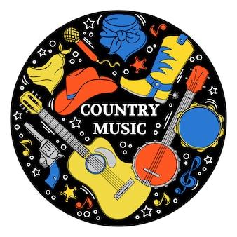 Музыкальная наклейка western country festival
