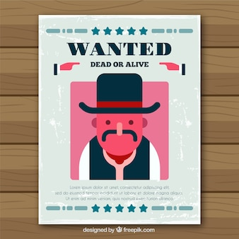 フラットなデザインで欧米の犯罪者のポスター
