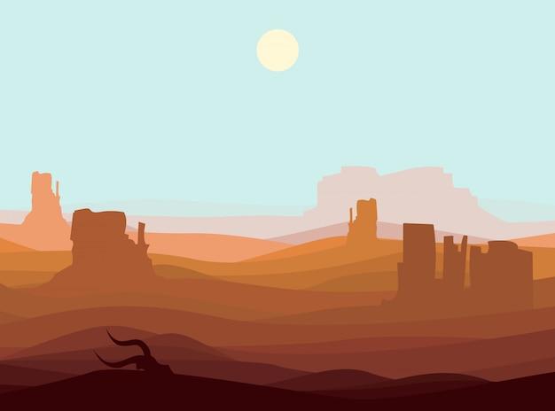 西部の砂漠の風景