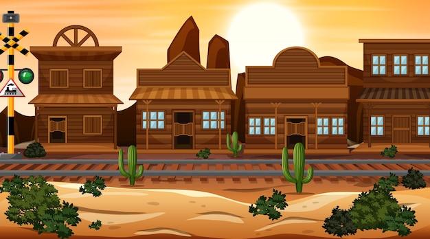 自然の中の西部の砂漠をテーマにしたシーン