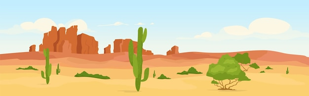 Western dry desert at day time flat color . wasteland travel destination. wilderness morning scenery. wild west 2d cartoon landscape with cactus and canyons on background