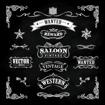 Western hand drawn blackboard banners vintage badge vector