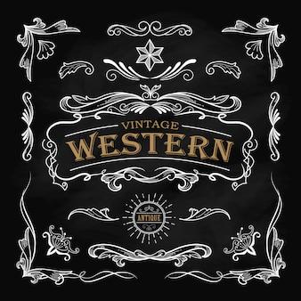 西部の手描きの要素フレームラベル黒板ビンテージバンネ