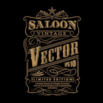 Western hand drawn frame label border vintage vector illustratio