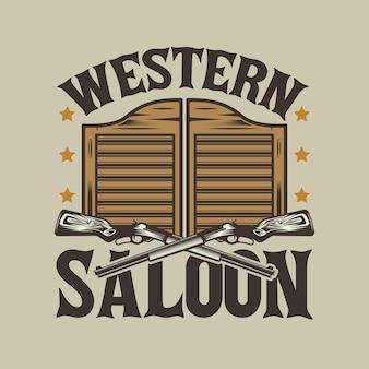 ウエスタンサルーンのドアとカウボーイの銃