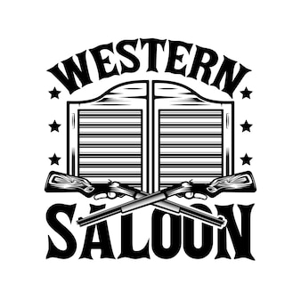 Western saloon door and cowboy guns