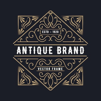 Western style antique retro luxury victorian calligraphic logo with ornamental frame