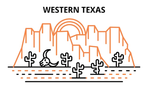 Western texas banner, outline style
