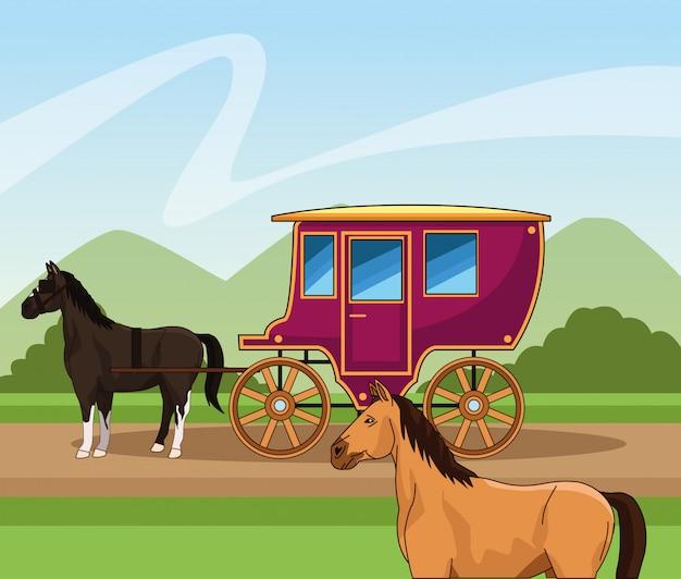 말 마차와 서 부 마을 디자인