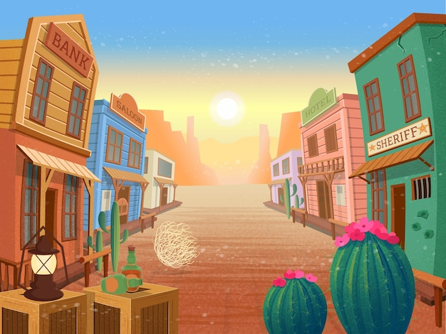 Western town. illustration