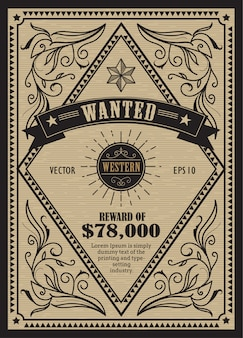 Western vintage frame antique label wanted retro hand drawn