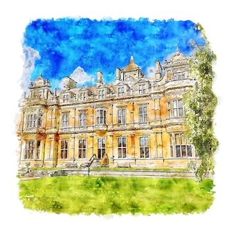 Дом уэстонбирт и сады акварельный эскиз рисованной иллюстрации