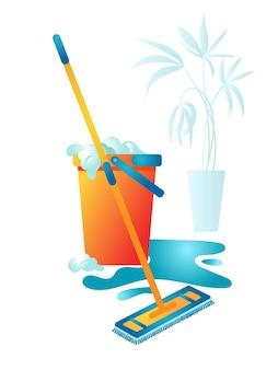 Влажная уборка дома. ведро с мыльной водой и шваброй.