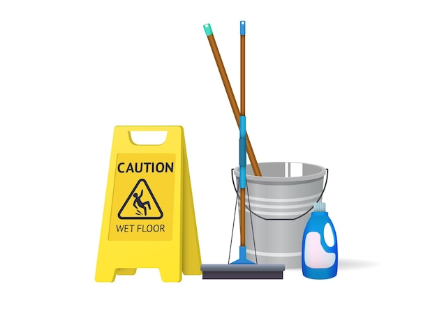 濡れた床の看板とモップで水のバケツ