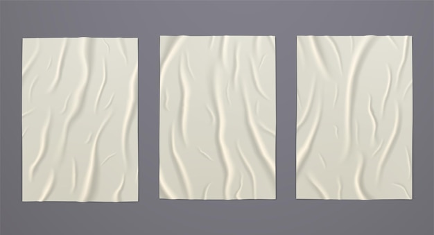 Wet glued paper with crumpled wrinkled texture. set of blank advertising poster templates for design.