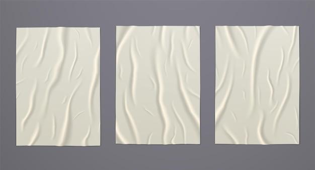 しわくちゃのしわのある湿った接着紙。デザインのための空白の広告ポスターテンプレートのセットです。
