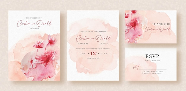 Wet painting of flowers on wedding invitation
