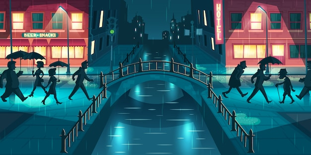 Wet, sloppy autumn weather cartoon vector concept. people under umbrellas walking on city street slush, crossing bridge illuminated with lampposts and signboards lights at rainy evening illustration