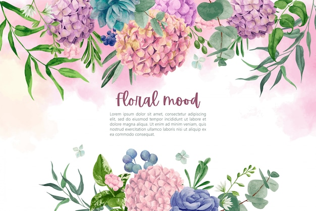 Wet watercolor background with hydrangea flowers and leaves