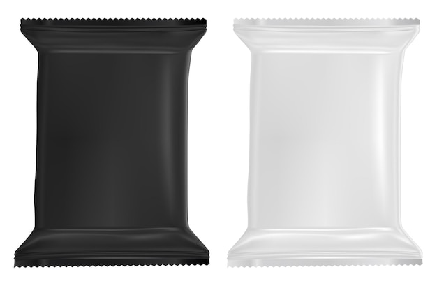 Пустой пакет влажных салфеток макет пластикового саше. реалистичный дизайн пакета детских салфеток пакет из пищевой фольги