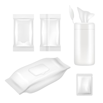 Wet wipes package set. realistic white blank packaging foil and plastic containers with flap for wet wipes isolated on white background.