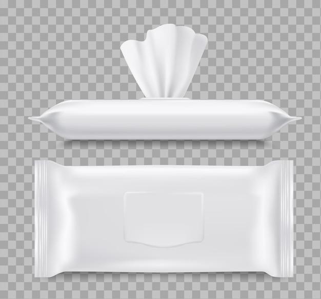 ウェットティッシュパッケージ、ヘルスケア3d。紙または布製のナプキン、ティッシュワイプで空白のパッケージを開閉します。