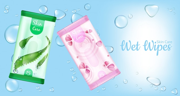 Wet wipes for skin care packages, moistened cosmetic napkins product on blue with water drops.