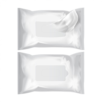 Wet wipes. vector realistic pack on white
