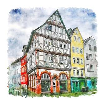 Wetzlar hesen 독일 수채화 손으로 그린 그림