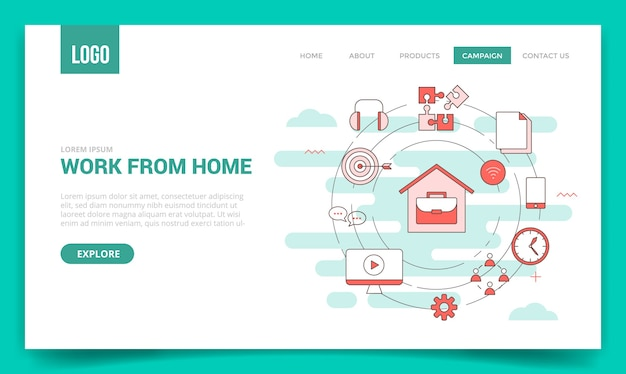 Wfh work from home concept with circle icon for website template