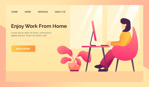 Wfh work from home for website template landing homepage with modern isometric flat