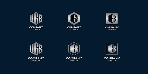 Wgsロゴデザインテンプレートのイニシャル