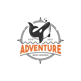 Whale adventure and research logo design concept