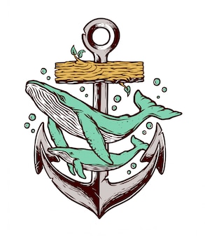 Whale and anchor illustration