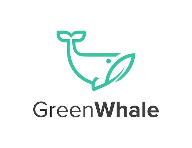 クジラと葉の葉の輪郭シンプルで洗練された創造的な幾何学的なモダンなロゴデザイン