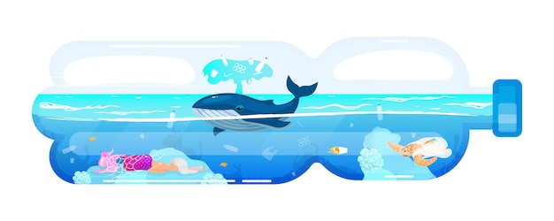 Кит и отходы в значок концепции пластиковых бутылок. проблема загрязнения окружающей среды. наклейка «морские животные и мусор в морской воде», клипарт. иллюстрации шаржа на белом фоне