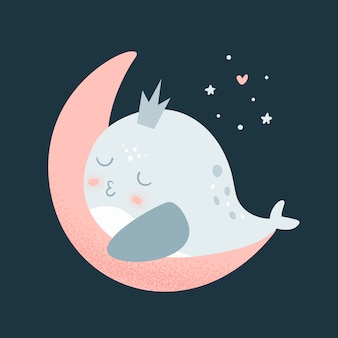 Whale baby sleep on the moon