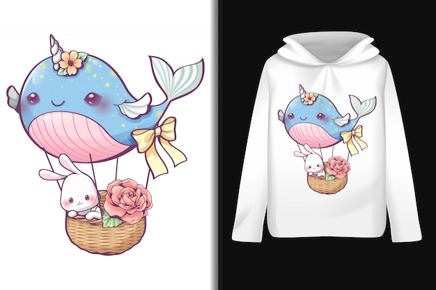 Whale balloon pattern on long-sleeved hoodie