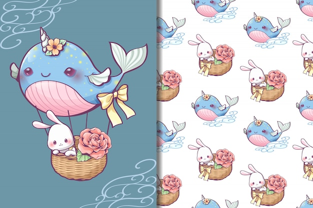 Whale balloon wallpaper and seamless pattern