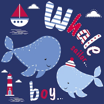 Whale boy babyshower illustration
