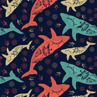 鯨。二重暴露動物。シームレスなパターン