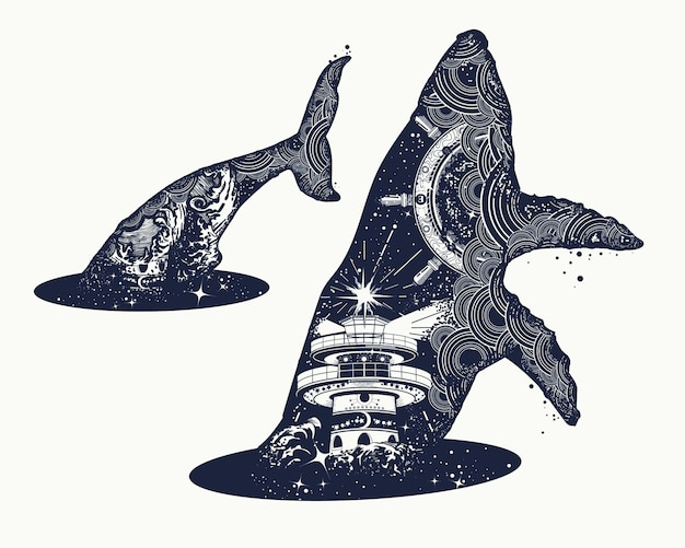 Whale double exposure surreal tattoo