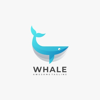 Whale geometric abstract logo design