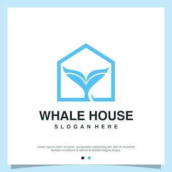 현대적인 개념으로 고래 집 로고 디자인 premium vector