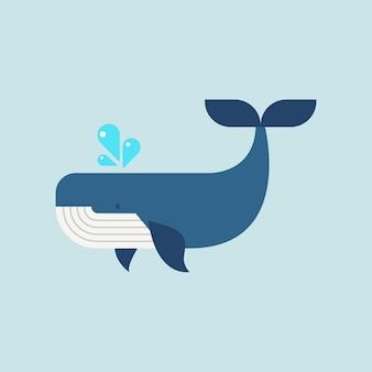フラットスタイルのクジラ