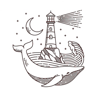 Whale and lighthouse line illustration