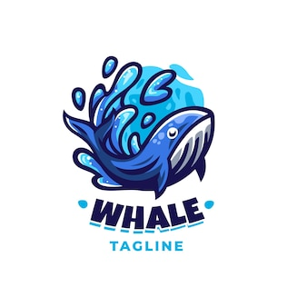 Whale logo design template with cute details