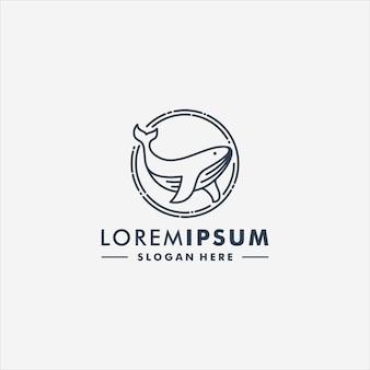 Кит дизайн логотипа вектор животных значок логотипа