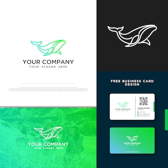 Whale logo with free business card design