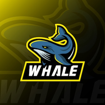 Whale mascot logo esport gaming illustration